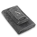 Avanti Premier Silver Block Monogram Letter  N  Hand Towel in Granite