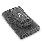 "Avanti Premier Silver Block Monogram Letter ""A  Bath Towel in Granite"