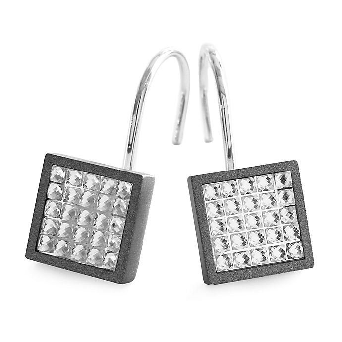 Alternate image 1 for Glitz Aluminum Shower Curtain Hooks in Grey/Charcoal (Set of 12)