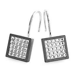Glitz Aluminum Shower Curtain Hooks in Grey/Charcoal (Set of 12)