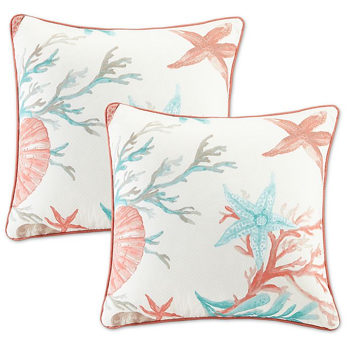 Alternate image 1 for Madison Park Pebble Beach 20-Inch Square Throw Pillows in Coral (Set of 2)