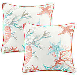 Madison Park Pebble Beach 20-Inch Square Throw Pillows in Coral (Set of 2)