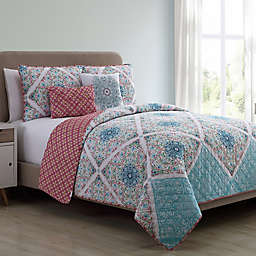 VCNY Windsor Reversible King Quilt Set in Blue/Coral