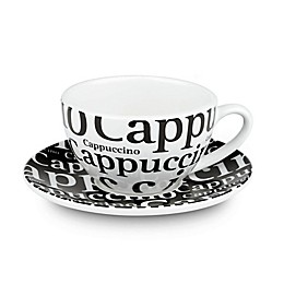 Konitz Coffee Bar #4 Cappuccino Cups and Saucers in White/Black (Set of 4)