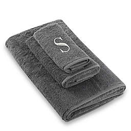 "Avanti Premier Silver Block Monogram Letter ""S"" Fingertip Towel in Granite"