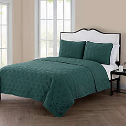 VCNY Home Kaleidoscope 3-Piece Reversible King Quilt Set in Sea Green