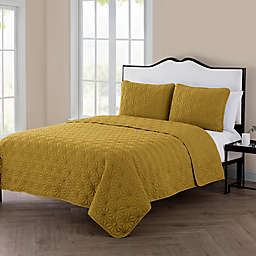 VCNY Home Kaleidoscope 3-Piece Reversible Queen Quilt Set in Gold