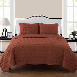 VCNY Home Kaleidoscope 3-Piece Reversible Queen Quilt Set in Burnt Orange