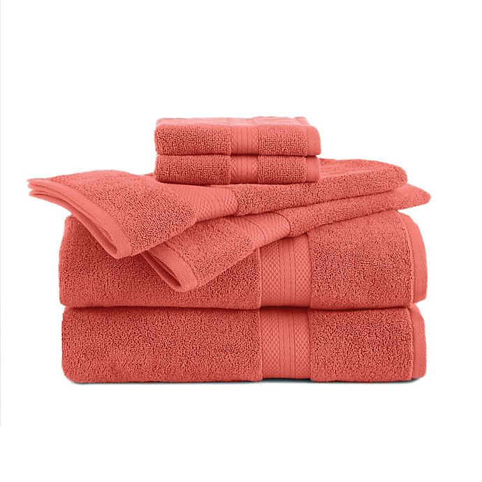 Alternate image 1 for Abundance 6-Piece Towel and Washcloth Set in Peach