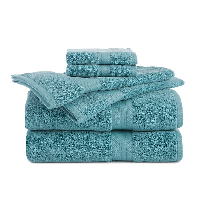 Alternate image 1 for Abundance 6-Piece Towel and Washcloth Set in Turquoise