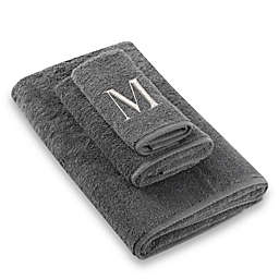 "Avanti Premier Silver Block Monogram Letter ""M"" Bath Towel in Granite"
