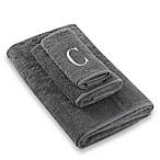 Avanti Premier Silver Block Monogram Letter  C  Hand Towel in Granite