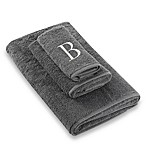 "Avanti Premier Silver Block Monogram Letter ""B  Fingertip Towel in Granite"