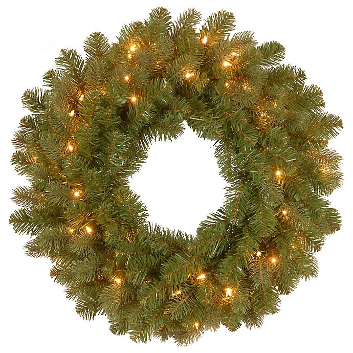 Alternate image 1 for National Tree Company Feel Real® Downswept Douglas Wreath with Warm White LED Lights