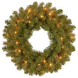 National Tree Company Feel Real® Downswept Douglas Wreath with Warm White LED Lights