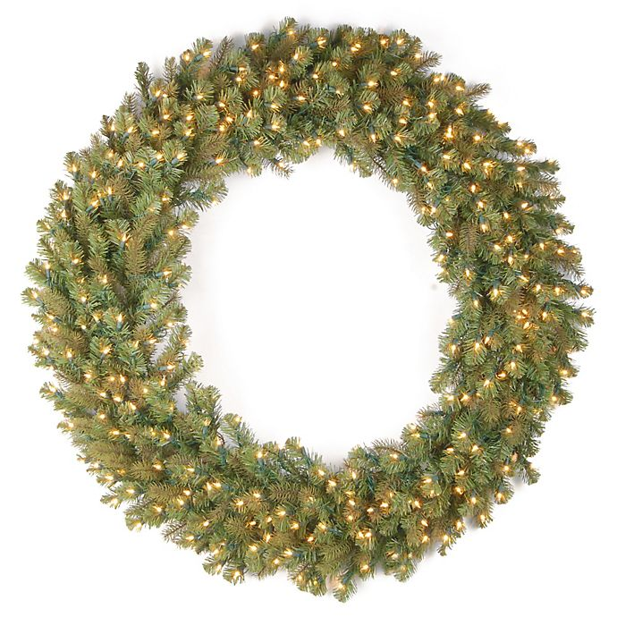 Alternate image 1 for National Tree Company Feel Real® 60-Inch Downswept Douglas Wreath with Warm White LED Lights