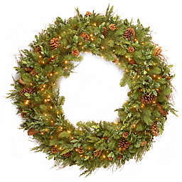 National Tree Company Decorative Collection 48-Inch Juniper Mix Pine Wreath with White Lights