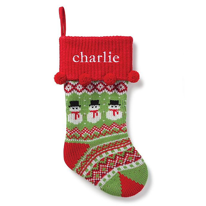 Alternate image 1 for Snowman Knit 20-Inch Christmas Stocking