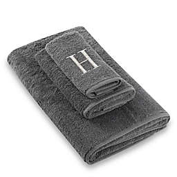 "Avanti Premier Silver Block Monogram Letter ""H"" Bath Towel in Granite"