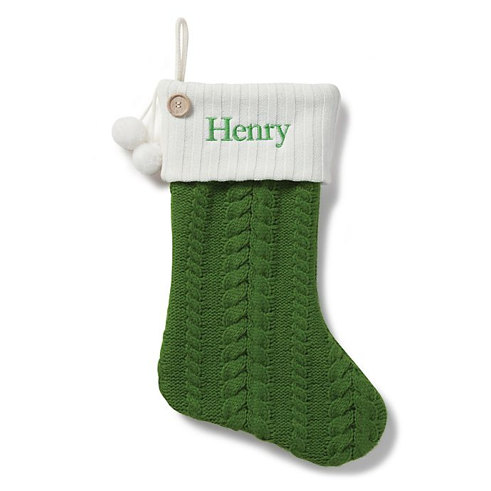 Alternate image 1 for Cable Knit 20-Inch Christmas Stocking in Green