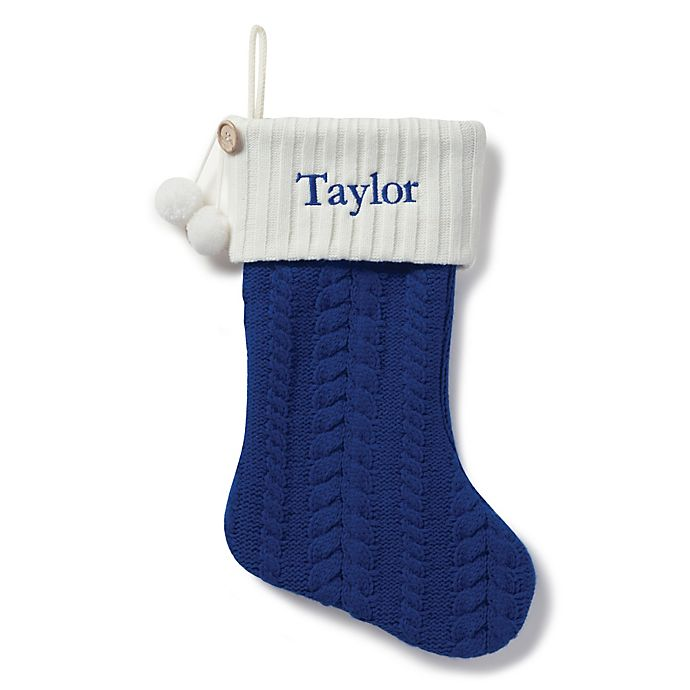 Alternate image 1 for Cable Knit 20-Inch Christmas Stocking in Blue