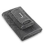 Avanti Premier Silver Block Monogram Letter  J  Bath Towel in Granite