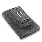 "Avanti Premier Silver Block Monogram Letter ""D   Bath Towel in Granite"