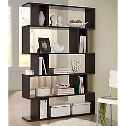 Baxton Studios Goodwin 5-Level Bookcase in Dark Brown