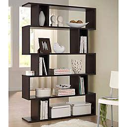 Baxton Studios Goodwin 5-Level Bookcase in Dark Brown