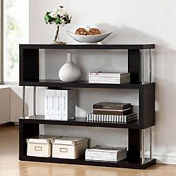 Baxton Studio Barnes 3-Shelf Bookcase in Dark Brown