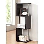 Baxton Studio Lindy 3-Tier Display Shelf Bookcase in Dark Brown