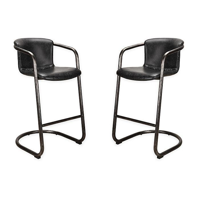 Alternate image 1 for Moe`s Home Collection Leather Upholstered Bar Stools in Black(Set of 2)