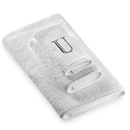"Avanti Premier Silver Block Monogram Letter ""U"" Bath Towel in White"