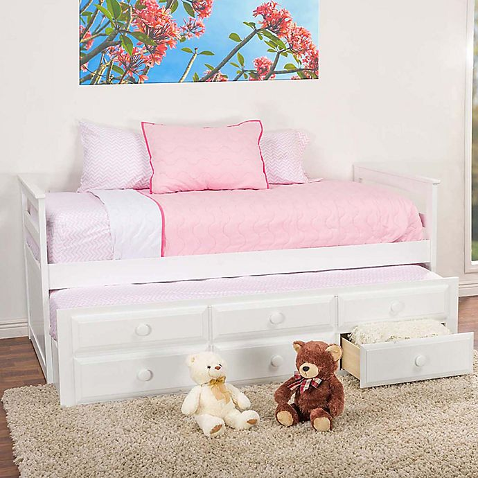 Alternate image 1 for Baxton Studio Ballina Trundle Twin Bed in White