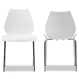 Baxton Studio Overla Modern Dining Chairs in White (Set of 2)