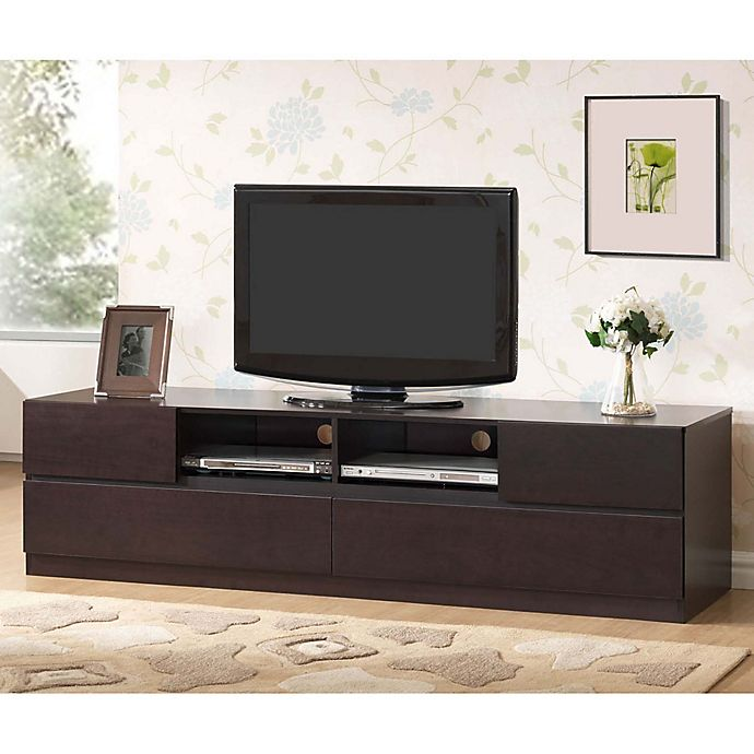 Baxton Studio Lovato 4 Drawer Modern Tv Stand In Dark Brown Bed