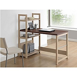Baxton Studio Hypercube Writing Desk in Natural/Dark Brown