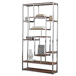 Steve Silver Co. Alize Bookshelf in Chrome/Brown