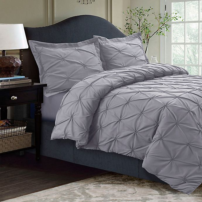 Alternate image 1 for Tribeca Living Sydney Pintuck King Duvet Cover Set in Silver Grey
