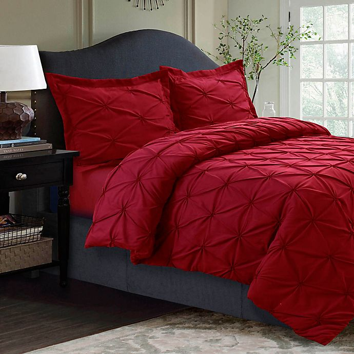 Alternate image 1 for Tribeca Living Sydney Pintuck Twin Duvet Cover Set in Red