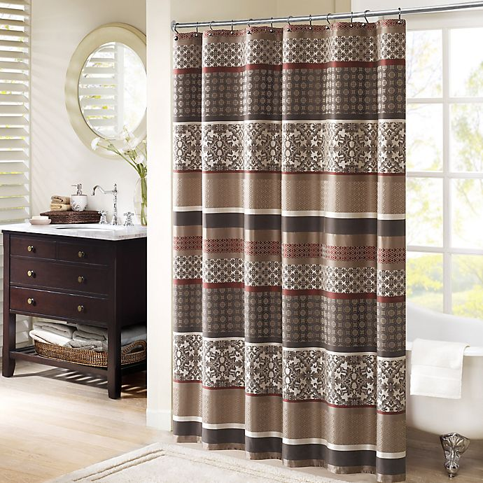 Alternate image 1 for Madison Park Princeton 72-Inch Shower Curtain in Red