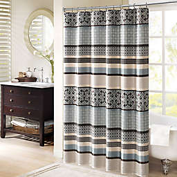 Madison Park Princeton 72-Inch Shower Curtain in Blue