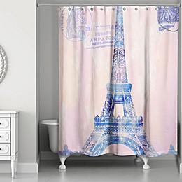 Designs Direct Watercolor Paris Shower Curtain in Pink/Purple