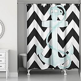 Designs Direct Chevron Anchor Shower Curtain in White/Black