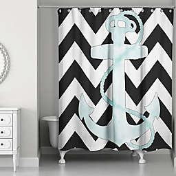Designs Direct Chevron Anchor Shower Curtain in White/Black