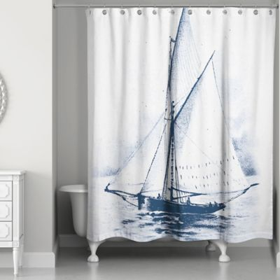 Designs Direct White Sailboat Shower Curtain In Blue