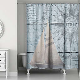Designs Direct North Star Sail Shower Curtain in Blue/Beige