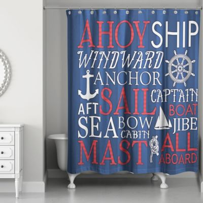 Designs Direct Nautical Phrase Shower Curtain In Blue Red