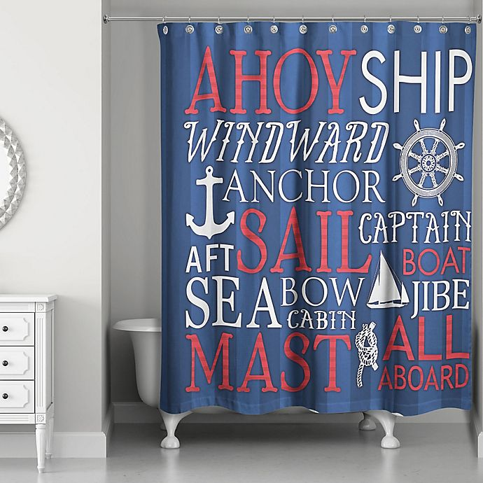 excellent nautical bathroom accessories | Designs Direct Nautical Phrase Shower Curtain in Blue/Red ...