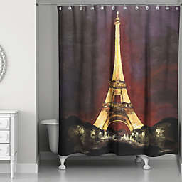 Designs Direct Night in Paris Shower Curtain in Black/Yellow